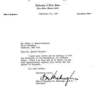 carta de T. Hesburgh, 29 sep 1981@2007-05-03T01;47;02