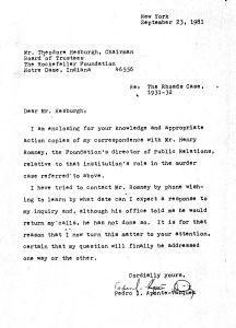 Hesburgh, Theodore, carta a, 23 sept 81