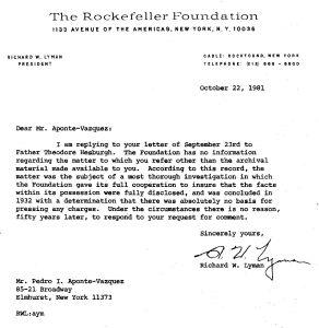Lyman, Richard, Fund. Rockfr., carta de, 22 oct 1981
