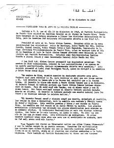 Documento confidencial, Policía, 20 dic 48 Partido Nacionalista, Asamblea Ateneo, 19 dic 48