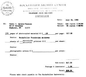 factura del Archivo Rockefeller, 30 julio 1980